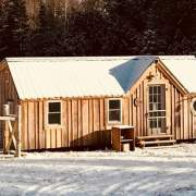 This small cabin will be cozy if a woodstove is installed inside.