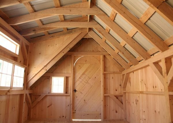 Post and bean 10x16 Smithaven interior with rough sawn hemlock post and beam interior