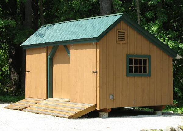10x16 Three Sled Shed - Upgraded with an extra window and painted siding and trim.