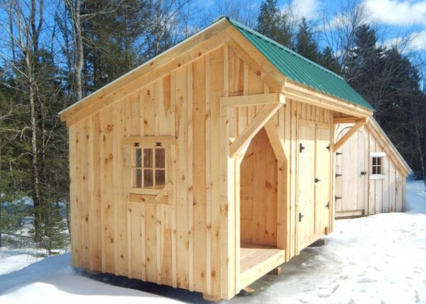 8x14 Weston Potting Shed includes an Evergreen corrugated metal roof when you purchase the complete pre-cut kit or fully assembled unit.