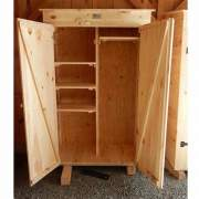 The garden closet comes with a set of double doors and adjustable shelving