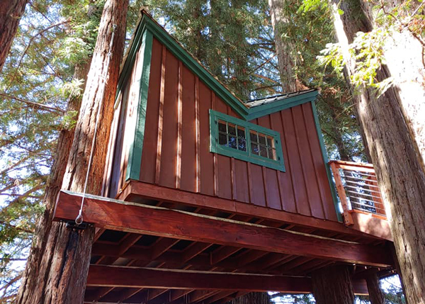 This post and beam Backyard Retreat was built into a treehouse.