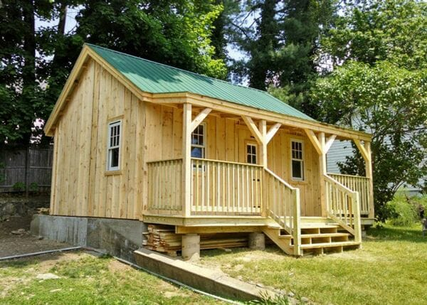 16x20 Vermont Cottage B with custom contractor built porch