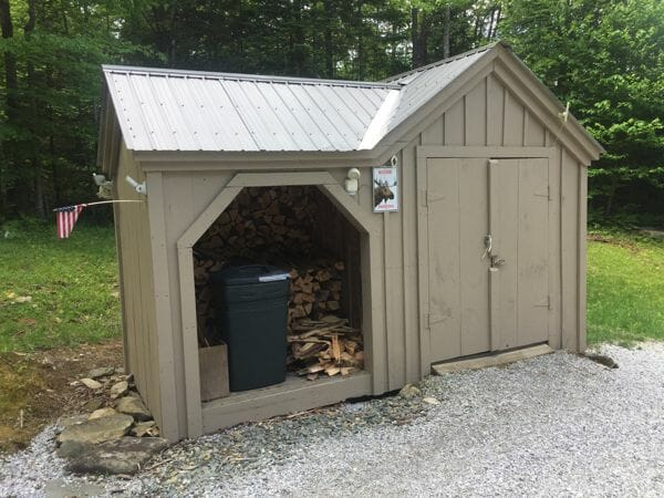 6x14 Vermont Gem post and beam firewood storage shed with clay colored metal roof