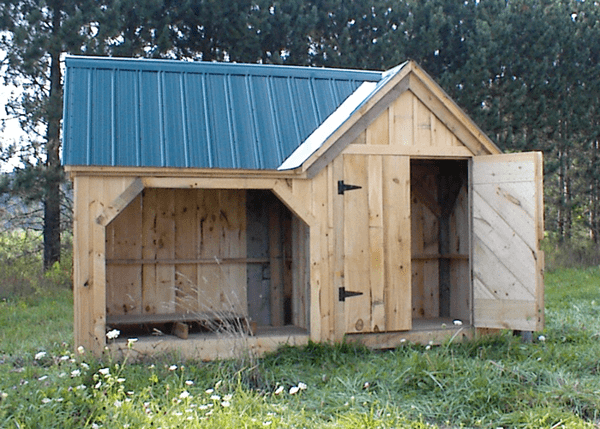 8x14 Vermont Gem firewood combination storage shed with an evergreen roof
