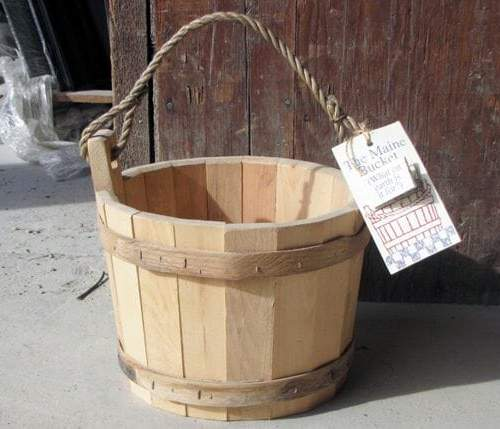 Wishing Well Wooden Bucket in Pine with Rope