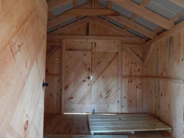 """5-0 JCS Built 2"""" thick Pine Double Doors on 10x20 Heritage. Interior view. Black Turn Latch."""