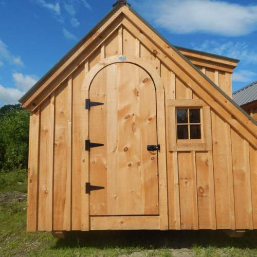 "3' JCS Built 2"" thick Pine Arched Door on 10x20 Smithaven.  Exterior view. With Black Turn Latch."