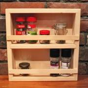 "Spice Rack made from high quality Pine is left unfinshed.  Overall dimensions 11.5""Wx12""Hx2.75""D."