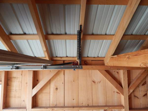 8x8 Overhead Garage Door track installed on14x20 One Bay Garage.