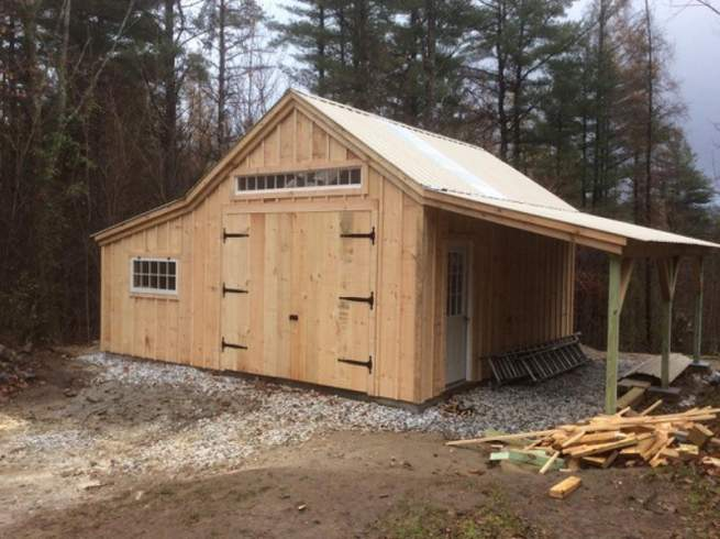 """9-0 JCS Built 2"""" Thick Pine Double Doors with Wrought Iron Strap hinges on 14x20 One Bay Garage."""