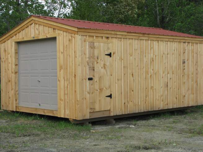 "2-8 JCS Built 2"" Thick Pine Single Door on 14x20 Barn Garage. Exterior view. Black Turn Latch."