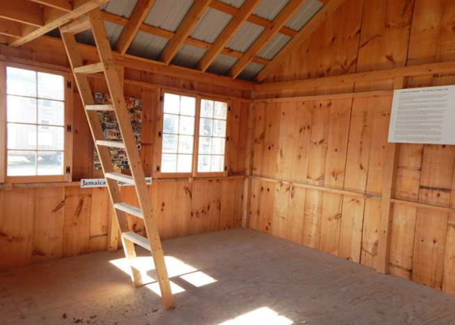 16x20 Vermont Cottage Option C interior with hinged windows and loft ladder