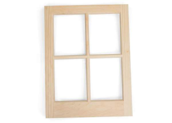 The unfinished pine window is ready to be painted or stained.
