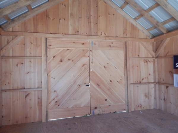 "6-0 JCS Built 2"" thick Pine Double Doors on 16x24 Vermont Cottage B.  Interior view. Black Turn Latch."