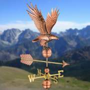 This copper and brass weathervane helps detect the direction the wind is blowing.