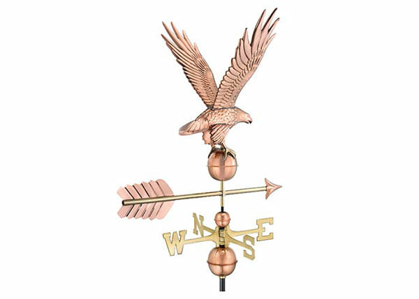 This weathervane is constructed of copper and brass.