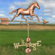 The galloping horse weathervane is used as a decoration and can also detect the direction of the wind.