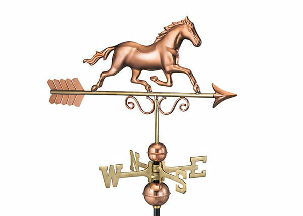 The galloping horse weathervane would make a great addition to a barn, run in or home.