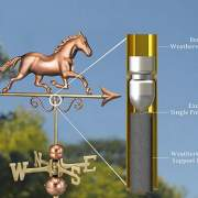 The galloping horse weathervane is made of copper and brass.