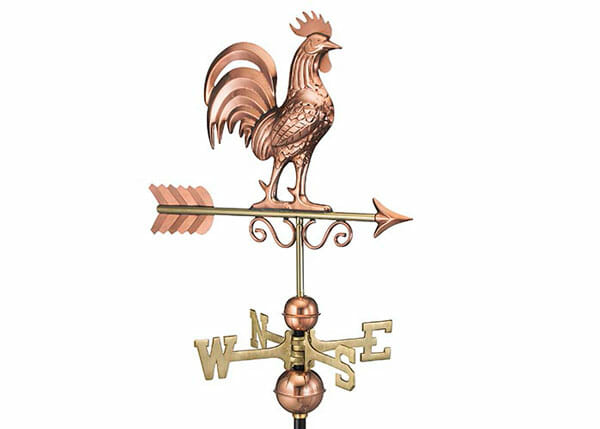 This copper and brass weathervane is a popular addition to farms, homesteads and chicken coops.
