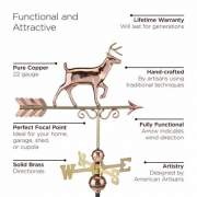 This weathervane is made of 22 gauge pure copper and hand-crafted by artisans. The directionals are solid brass.