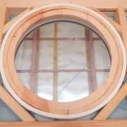 It is recommended to install the round insulated fixed window in our three or four season cabins and cottages. Pine trim was added to this window for the interior