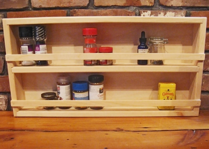 "Spice Rack made from high quality Pine is left unfinshed.  Overall dimensions 24""Wx12""Hx2.75""D."