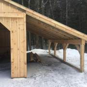 Overhang with no floor and 6x6 Post and Beam construction.  Treated sill.