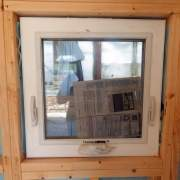 2x2 Insulated Awning Window installed in a three season cottage build.