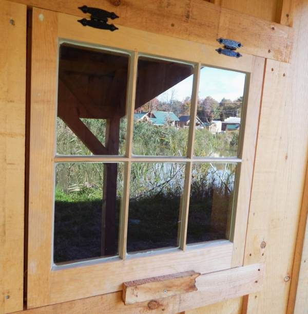 The 2x2 Six-Lite Hinged Barn Sash Window includes two shed hinges. Framing and trim may be purchased separately.