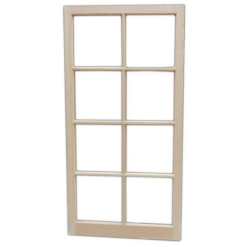 The 2x4 Eight-Lite Barn Sash Window may be purchased fixed or hinged.