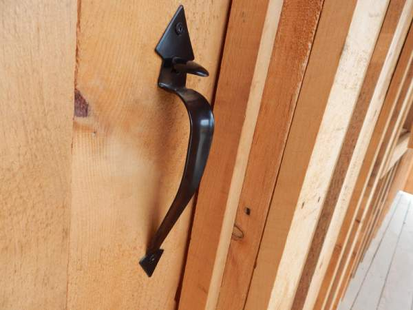 "Black Thumb Latch installed on 3-0 2"" thick JCS Built Pine Door."