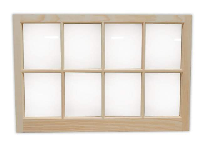 3x2 Eight-lite Barn Sash Window can be ordered fixed, or hinged with mounting hardware.
