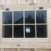 The 3x2 barn sash window can be ordered hinged or fixed. The hinged window includes mounting hardware.
