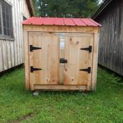 """4' JCS Built 2"""" thick Pine Double Doors on 3x5 Garbage Bin.  Exterior view.  Black Turn latch."""