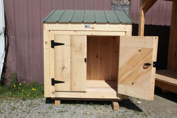 "4' JCS Built 2"" thick Pine Double Doors on 3x5 Garbage Bin.   Black Turn latch."