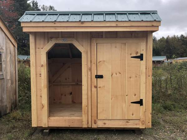 "3-0 JCS Built 2"" thick Pine Door on 4x10 Weekender.  Exterior view.  Black Turn latch."