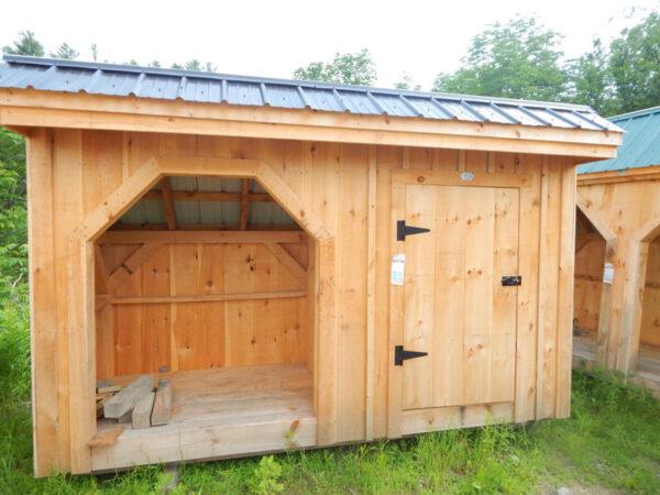 "3-0 JCS Built 2"" thick Pine Door on 4x12 Weekender.  Exterior view.  Black Turn latch."
