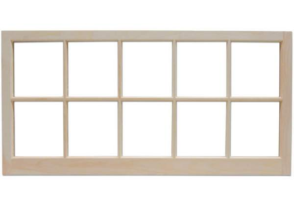 The 4x2 barn sash window includes ten true-divided lights.
