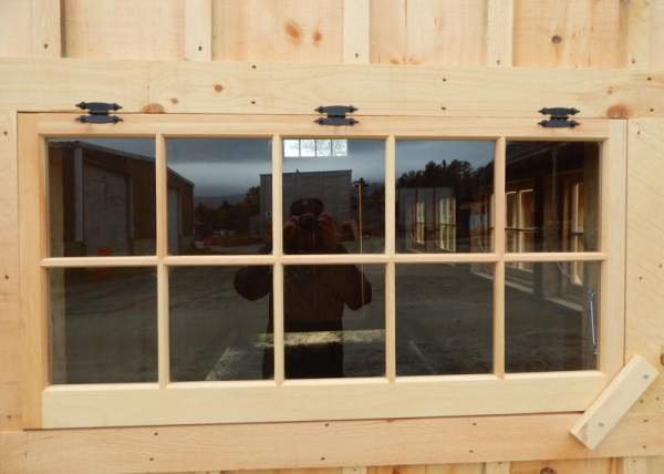 The 4x2 barn sash hinged window includes three hinges for mounting.