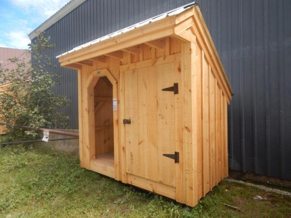"3-0 JCS Built 2"" thick Pine Door.  Installed on 4x8 Weekender. Exterior view.  Black Turn latch."
