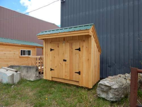 "5' JCS Built 2"" thick Pine Double Doors on 4x8 Saltbox.  Exterior view. Black Turn Latch."