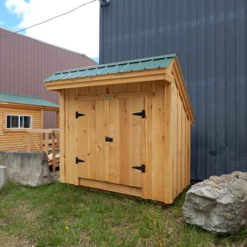 """5' JCS Built 2"""" thick Pine Double Doors on 4x8 Saltbox.  Exterior view. Black Turn Latch."""