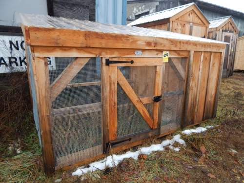 2-8 JCS Built Single Chicken Wire Door on 5x10 Chicken Coop. Exterior view. Black Turn Latch.