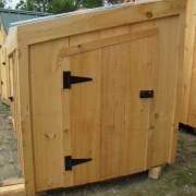 """2-8 JCS Built 2"""" Thick Pine Single Angled Door on 5x10 Chicken Coop. Exterior view. Black Turn Latch."""