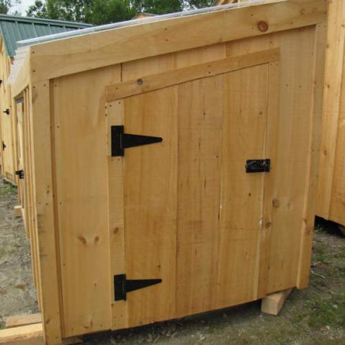 "2-8 JCS Built 2"" Thick Pine Single Angled Door on 5x10 Chicken Coop. Exterior view. Black Turn Latch."
