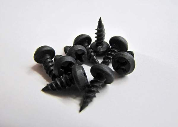 """7/16"""" Peanut Screws for use with a #2 Phillips Head.  Black Phosphate."""