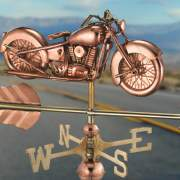 This copper weathervane features a vintage motorcycle with solid brass directionals.