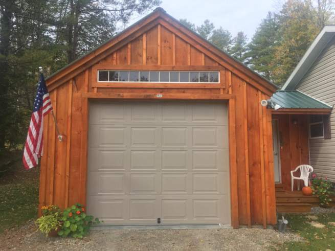 This transom window was painted white by the customer, then installed above a garage door.